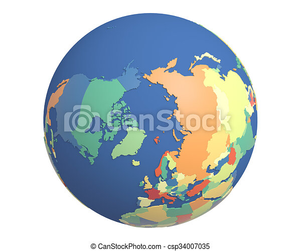 Political globe centered on the north pole political globe with political globe centered on the north pole csp34007035 gumiabroncs Choice Image