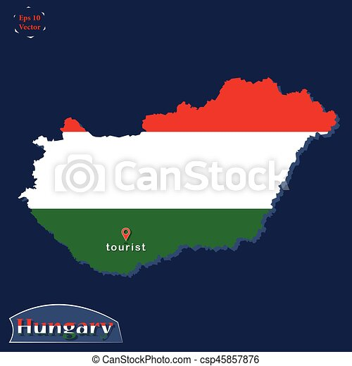 Hungary Political Map.Political Map Illustration Of Hungary Coloured In The National Flag