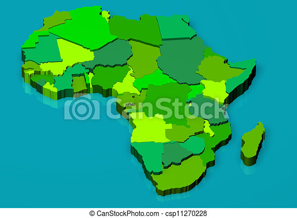 Map Of Africa 3d.Political Map Of Africa 3d 3d Illustration Political Map Of Africa
