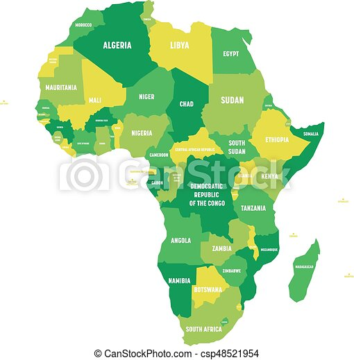 map of africa with labels Political Map Of Africa In Four Shades Of Green With White Country map of africa with labels
