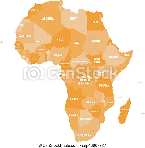map of africa with labels Political Map Of Africa In Four Shades Of Orange With White map of africa with labels
