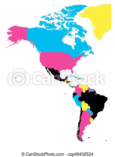Political map of Americas in CMYK colors on white background. North and  South America. Simple flat vector illustration