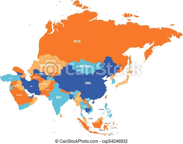 Political map of Asia continent. Vector illustration - csp54246932