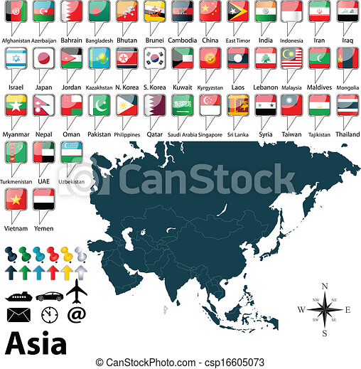 Political map of Asia - csp16605073