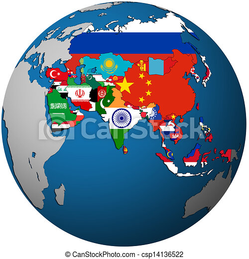 political map of asia on globe map - csp14136522