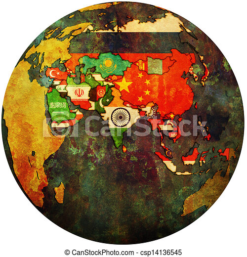 political map of asia on globe map - csp14136545