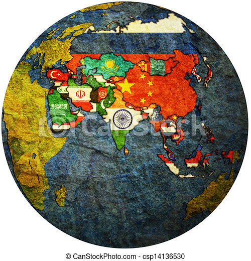 political map of asia on globe map - csp14136530