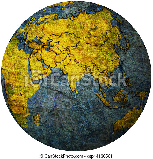 political map of asia on globe map csp14136561