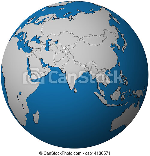 political map of asia on globe map csp14136571