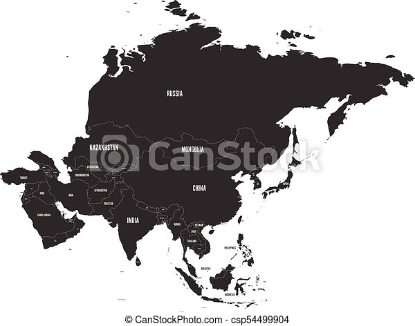 Political map of Asia. Vector illustration. - csp54499904