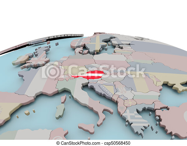 Political map of Austria on globe with flag - csp50568450