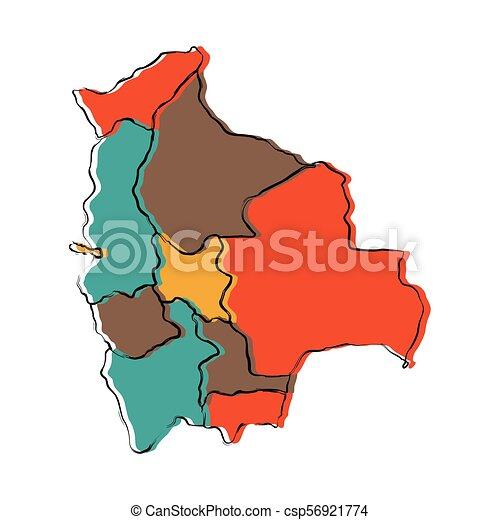 Political Map Of Bolivia Vector Illustration Design