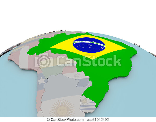 Political map of brazil on globe with flag brazil with stock political map of brazil on globe with flag csp51042492 gumiabroncs Images