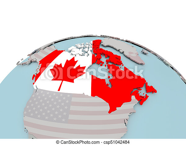 Map Of Canada On Globe.Political Map Of Canada On Globe With Flag Canada With National