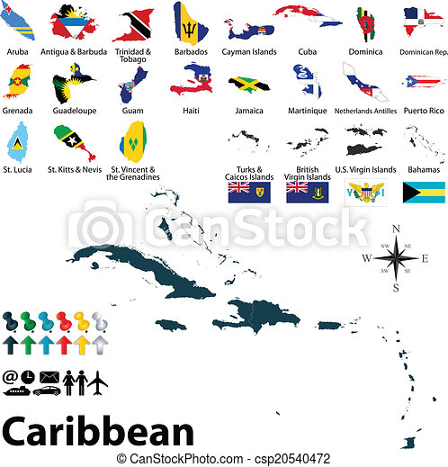 Vectors Illustration Of Political Map Of Caribbean Vector - Political map of barbados