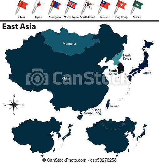 Vector of political map of east asia set with flags on white