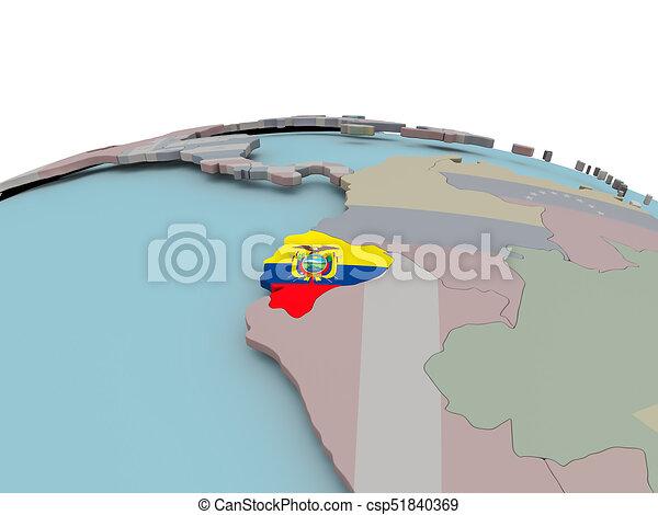 Political map of ecuador on globe with flag Ecuador with stock