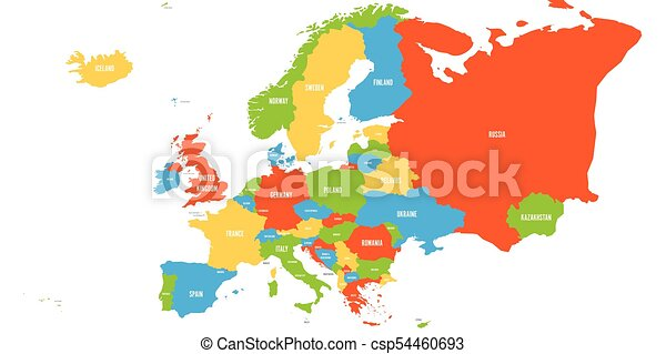 Political map of europe continent in four colors with white country political map of europe continent in four colors with white country name labels and isolated on white background vector illustration gumiabroncs Images