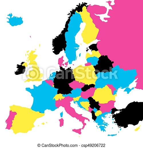 political map of europe continent in cmyk colors isolated on white background vector illustration