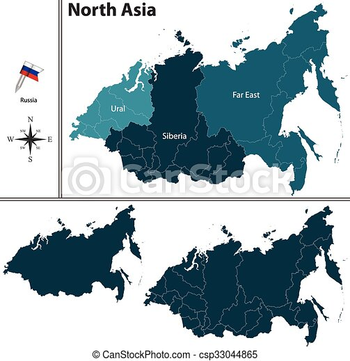 Map Of Asia Vector.Political Map Of North Asia