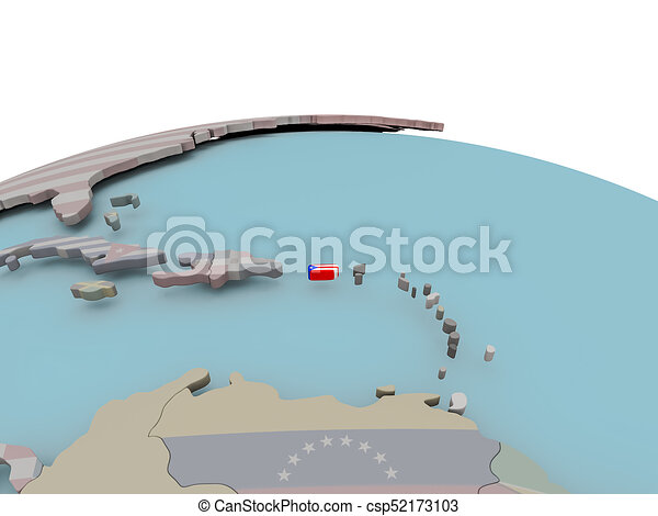 Political Map Of Puerto Rico On Globe With Flag Puerto Rico With