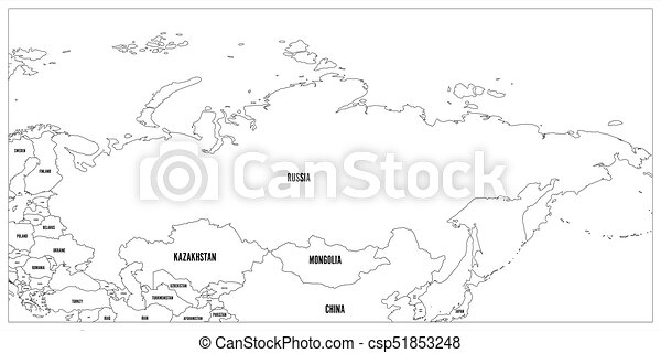 Political Map Of Russia And Surrounding Countries Black Thin