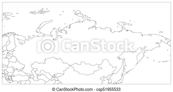 Political map of russia and surrounding countries. black thin ...