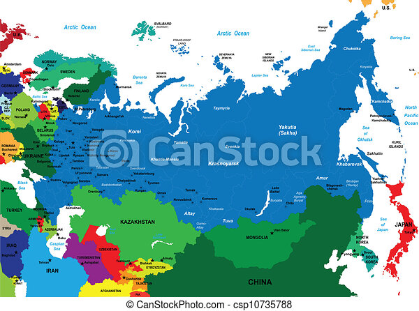 Cartina Siberia Russia.Political Map Of Russia Detailed Map Of Russia Each File Is Constructed Using Multiple Layers Including Country Borders Canstock