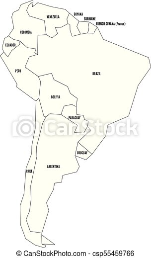Political map of south america. simplified thin black wireframe ...