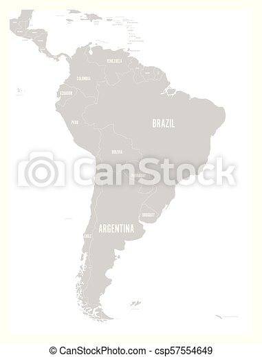 Political map of South America. Simple flat vector map with country name  labels in grey