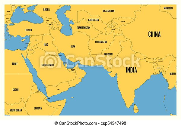 political map of south asia and middle east simple flat vector map with yellow land and blue sea