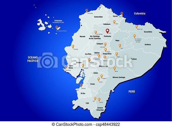 Political map of the republic of ecuador with the names of vector