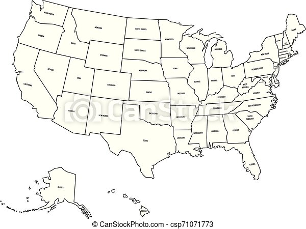 Political map of United States od America, USA. Simple flat black outline  vector map with black state name labels on white background
