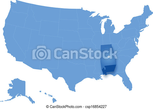 Political Map Of United States With All States Where Alabama Is