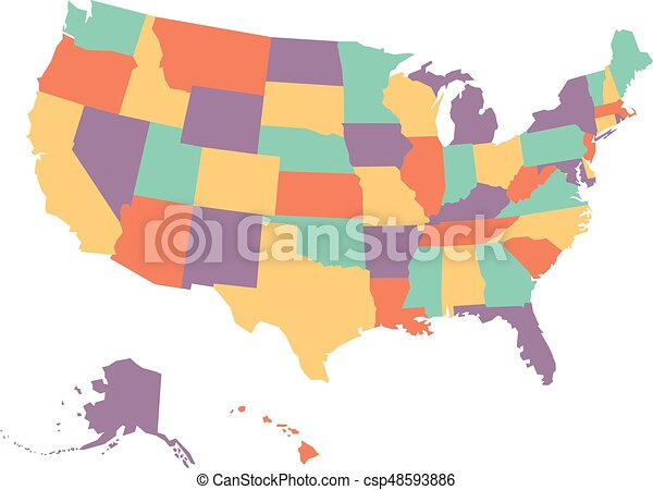 Political map of USA, United States of America, in four colors on white  background. Vector illustration