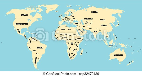 Political map of world yellow political world map with blue political map of world csp32470436 gumiabroncs Choice Image