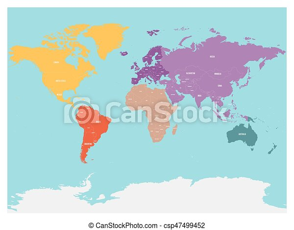Political map of world with Antarctica. Continents in different colors on topographic map, mappa mundi, thematic map,