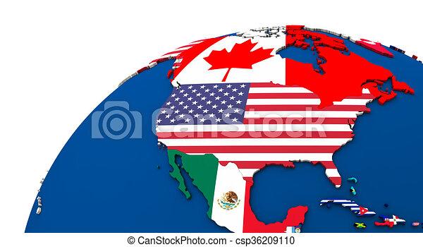 Political north america map Political map of north america