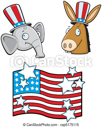 political parties a cartoon donkey and elephant political rh canstockphoto com free political clipart images clipart political symbols
