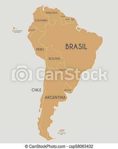 Political south america map vector illustration with country names in ...