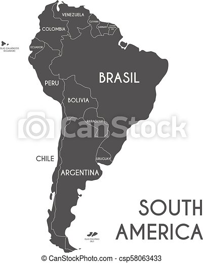 Political South America Map vector illustration isolated on white  background with country names in spanish. Editable and clearly labeled  layers.