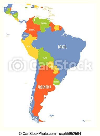 America Politica Cartina.Political Vector Map Of South America Political Map Of South America Vector Illustration Canstock