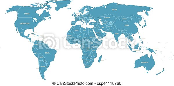 Political vector world map with state name labels blue land political vector world map with state name labels blue land with gray text on white background gumiabroncs Gallery