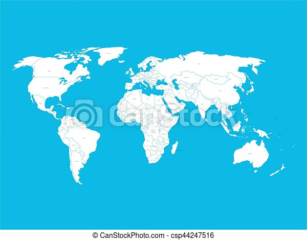 Political vector world map with state name labels white vector political vector world map with state name labels white land with black text on blue background gumiabroncs Gallery