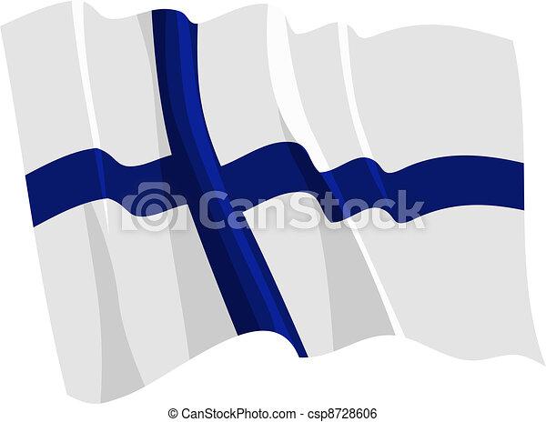 Political waving flag of Finland - csp8728606