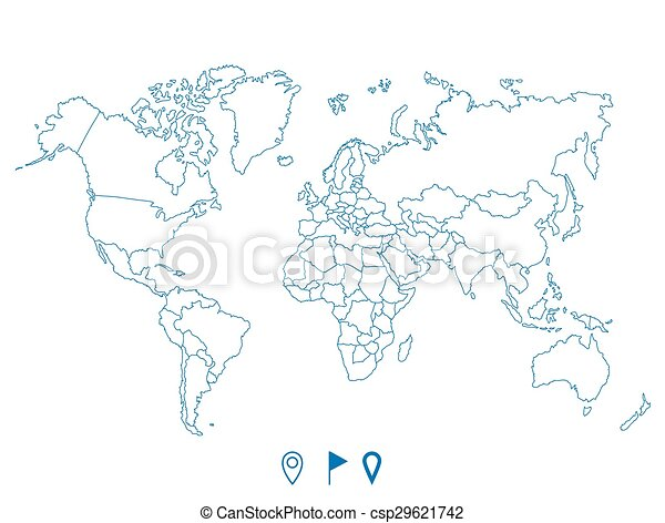 Political world blue map and vector illustration - csp29621742