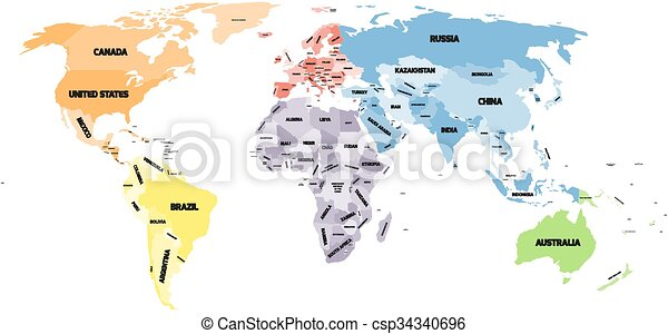 Political world map on white background. Colored political world map ...