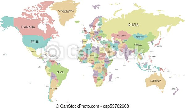 Political world map vector illustration isolated on white background political world map vector illustration isolated on white background with country names in spanish editable and clearly labeled layers gumiabroncs Image collections