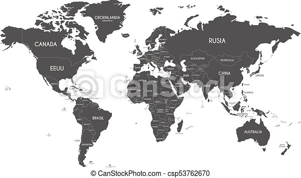 Political world map vector illustration isolated on white political world map vector illustration isolated on white background with country names in spanish gumiabroncs Images