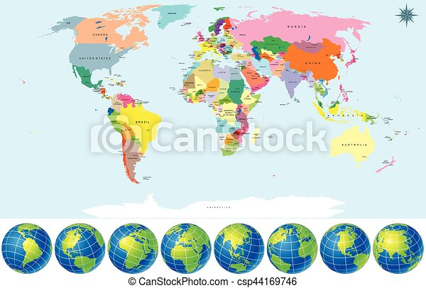 Political world map with earth globes detailed vector include all political world map with earth globes csp44169746 gumiabroncs Choice Image